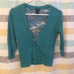 Women's mid length lace back cardigan